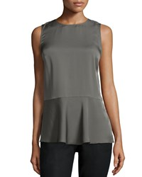 Theory Malydie Sleeveless Silk Top Shale