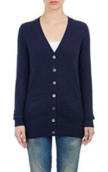 Barneys New York Cashmere V Neck Cardigan Blue