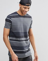 Asos Longline T Shirt With Geo Tribal Print In Washed Black Greyblack