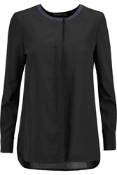 Tory Burch Meg Two Tone Stretch Silk Blouse Black