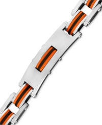 Macy's Men's Stainless Steel And Rubber Bracelet Rectangle Link Bike Chain