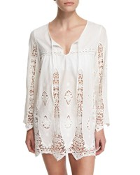 Nanette Lepore Carnaby Crocheted Tunic Coverup White