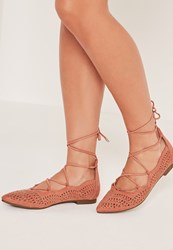 Missguided Laser Cut Flat Shoes Pink