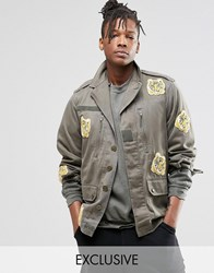 Reclaimed Vintage Camo Jacket With Tiger Patches Khaki Green