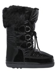 Dsquared2 Nylon And Patent Leather Fur Snow Boots