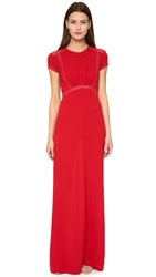 Yigal Azrouel Floral Lace Gown Carmine