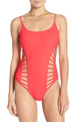 Red Carter Women's Cutout One Piece Swimsuit Coral