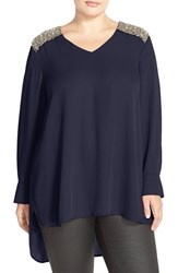 Plus Size Women's Melissa Mccarthy Seven7 Crystal Shoulder Tunic Top Peacoat Combo