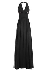 Elie Saab Floor Length Halter Dress With Lace Black