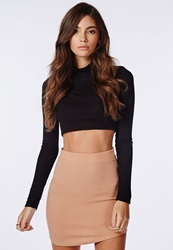 Missguided Women's Curve Hem Mini Skirt Nude Beige