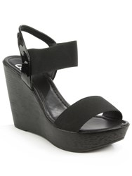 Daniel Kefalonia Two Bar Stretch Wedge Sandals Black