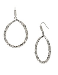 Kenneth Cole Textured Metals Geometric Bead Hoop Earrings Silver