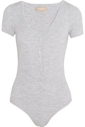 Michael Kors Collection Ribbed Stretch Merino Wool Blend Bodysuit Gray