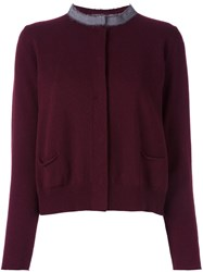 Fabiana Filippi Contrast Collar Cardigan Red