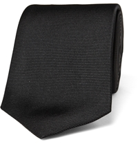 Turnbull And Asser Ribbed Silk Tie Black