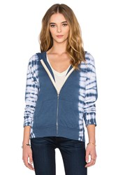 Monrow Zip Up Hoodie With Border Tie Dye Blue