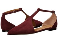 Massimo Matteo Flat T Strap Wine Suede Women's Flat Shoes Burgundy
