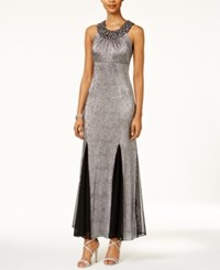 R And M Richards Petite Beaded Metallic Pleated Gown Silver Black