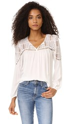 Bb Dakota Renna Peasant Top With Lace Ivory