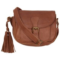 Fat Face Small Leather Saddle Bag Brown