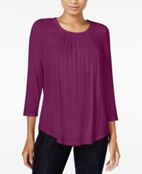 Maison Jules Three Quarter Sleeve Top Only At Macy's Cherry Plum