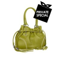 Buti Green Tassel Drawstring Pebble Leather Satchel Handbag