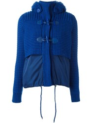 Bark Hooded Knitted Duffle Jacket Blue