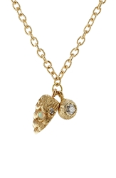 Carolina Bucci Owls Eye And Wing 18K Gold Necklace With Diamond