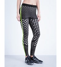 Ultracor Silk Grate Print Jersey Leggings White Chartreuse