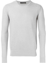 Jeordie's Textured Knit Crew Neck Sweater Grey