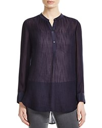 Vince Silk Trimmed Sheer Blouse Coastal