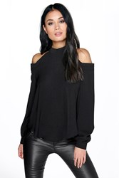 Boohoo Open Shoulder High Neck Blouse Black