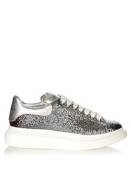 Alexander Mcqueen Low Top Glitter Leather Platform Trainers Grey Multi