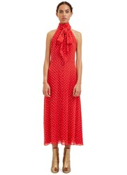 Saint Laurent Sequinned Pussybow Dress Red