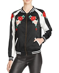 Aqua X Maddie And Tae Floral Embroidered Bomber Jacket 100 Bloomingdale's Exclusive Black White