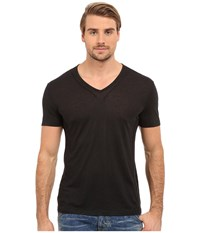 John Varvatos Short Sleeve Knit V Neck With Pintuck Seam Details Black Men's Clothing