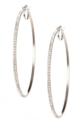 Candela Sterling Silver Swarovski Crystal Embellished 60Mm Hoop Earrings Metallic