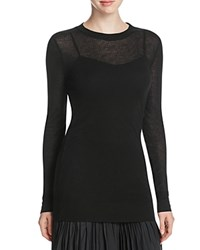 Dkny Pure Extra Long Sleeve Ribbed Tee Black
