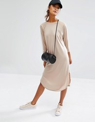 Daisy Street 3 4 Sleeve T Shirt Dress With Contrast Arm Tape Detail Nude Beige