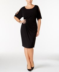 Connected Plus Size Draped Cold Shoulder Dress Black