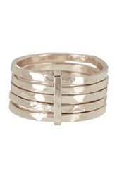 Argentovivo Sterling Silver 5 Layer Ring Size 6 Metallic