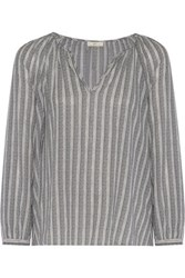 Joie Barbosa Striped Cotton Top Storm Blue
