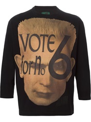 Jean Paul Gaultier Vintage 'Vote For No.6' Long Sleeve T Shirt Black