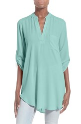 Junior Women's Lush 'Perfect' Roll Tab Sleeve Tunic Aqua Haze