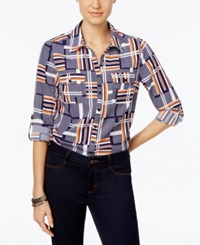 Ny Collection Petite Printed Utility Shirt Orange Contour