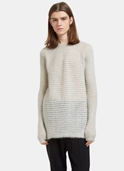 Rick Owens Oversized Round Neck Contrast Knit Sweater Beige