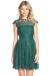 Women's Bb Dakota 'Rhianna' Illusion Yoke Lace Fit And Flare Dress Verde