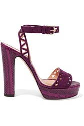 Bionda Castana Zoe Elaphe And Laser Cut Suede Sandals Grape