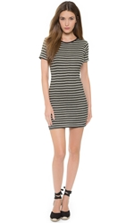 Edith A. Miller Crew Neck Short Sleeve Mini Dress Black Natural Track Stripe