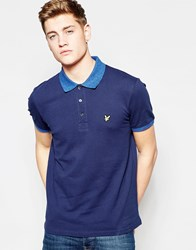 Lyle And Scott Polo Shirt With Space Dye Collar In Navy Navy